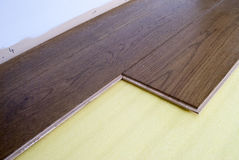 Timber floor installation. On top of foam underlay Stock Photography