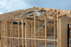 A timber frame of a house being newly built in South Australia o. N 29th August 2018 royalty free stock images