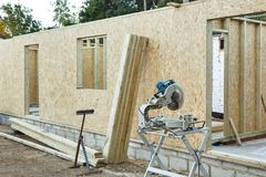 Timber frame house stock images