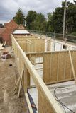 Timber frame wall construction stock photography