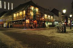Timber framed building, Malmo, Sweden. Traditionally constructed building in the city centre at night Royalty Free Stock Images