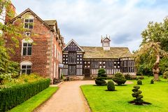 Timber framed Elizabethan mansion in North England. Stock Photo
