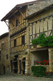 Timber framed houses. In the medieval village of perouges in france Royalty Free Stock Photo