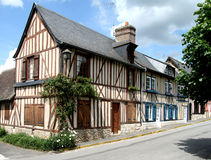 Timber Framed Houses. Row of colourful Timber Framed Houses in an Historic Village in Normandy, France Stock Photography