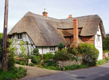 Timber Framed Thatched Village Cottage Stock Photo