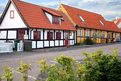 Timber framing house in Gudhjem, Bornholm Island, Denmark. Typical timber framing colorful old house in Gudhjem, Bornholm Island, Denmark royalty free stock image