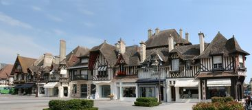 Timber framing houses. In Deauville, France stock image
