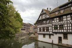 Timber framing houses of district la Petite France. Strasbourg, France Royalty Free Stock Photos