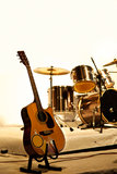 Timber guitar on stage Stock Images