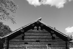 Timber house black and white Stock Image