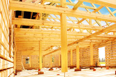 Timber house. In building process Royalty Free Stock Photography