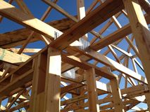 Timber house frame. Newly constructed timber house frame Royalty Free Stock Photography