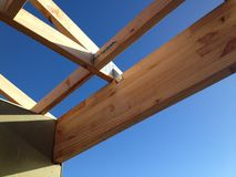 Timber house frame. Newly constructed timber house frame Stock Image