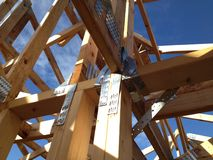 Timber house frame. Newly constructed timber house frame royalty free stock image