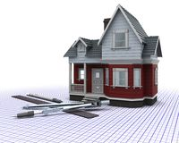Timber house on a grid with drawing instruments. 3D render of a timber house on a grid with drawing instruments Stock Photo