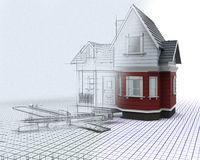 timber house on a grid with drawing instruments with half sk. 3D render of a timber house on a grid with drawing instruments with half in sketch preview Stock Image