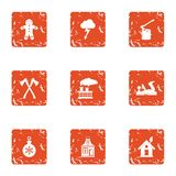 Timber house icons set, grunge style. Timber house icons set. Grunge set of 9 timber house vector icons for web isolated on white background vector illustration