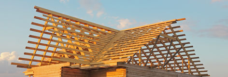 Timber house under constructoin - roof frame Royalty Free Stock Photo