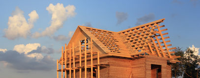 Timber house under constructoin - roof frame Stock Images