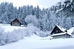 Timber Houses In Snowy Landscape Stock Photos