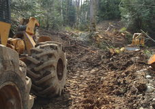Timber Industry. Clearing land with skidder in forground and bulldozer in background Royalty Free Stock Photography