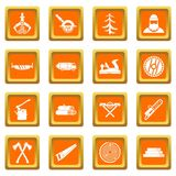Timber industry icons set orange Royalty Free Stock Images