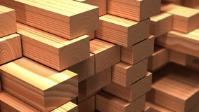 Timber industry objects. Finished wood beams or plank at a warehouse. Slow motion and loop 3d animation. Timber industry objects. Finished wood beams or planks vector illustration