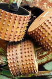 Timber industry old log feed rollers Royalty Free Stock Photos