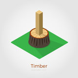 Timber isometric illustration. Timber illustration in isometric style. Cutted timber from stump in wood. Isolated on white background, stylish flat colors vector illustration