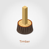 Timber isometric vector illustration. Timber vector illustration in isometric style. Cutted timber from stump in wood. Isolated on white background, stylish flat Stock Photos
