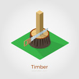Timber isometric vector illustration. Timber vector illustration in isometric style. Hacksaw cutting timber from stump in wood. Isolated on white background stock illustration