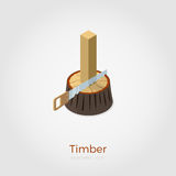Timber isometric vector illustration. Timber vector illustration in isometric style. Hacksaw cutting timber from stump in wood. Isolated on white background Royalty Free Stock Images