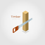 Timber isometric vector illustration. Timber vector illustration in isometric style. Hacksaw cutting timber from wood material. Isolated on white background royalty free illustration