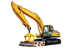 Timber loader with logs on white background stock photography