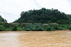 Timber logging site along Sarawak Rejang river Stock Photos