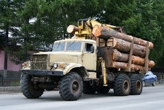 Timber lorry. An old beige timber lorry royalty free stock image