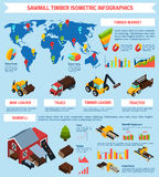Timber Market Isometric Infographics Royalty Free Stock Images
