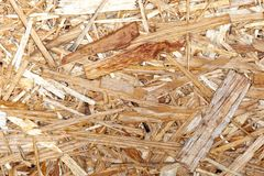 Timber oriented strand board pattern texture. plate for building and repair works.  royalty free stock photography