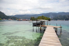 Timber pier. Near at Jayapura,West Papua, Indonesia Royalty Free Stock Photo