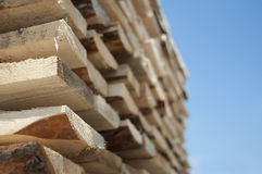 Timber. Planks and beams Stock Photo