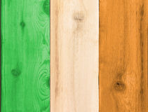 Timber planks in the shape of an Ireland flag. Timber planks of wood that have been painted or stained in the colors of a flag for Ireland or Eire as a Royalty Free Stock Image