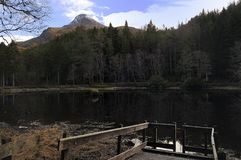 Timber platform over the Loch Stock Photo