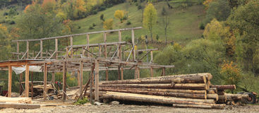Timber production place. Image of a timber production place in a forested region royalty free stock photography
