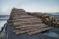 Timber on the quay Stock Photos