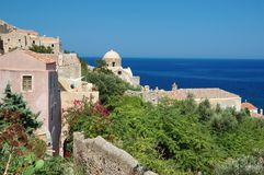 Timber roofs of old byzantine town Monemvasia Stock Photography