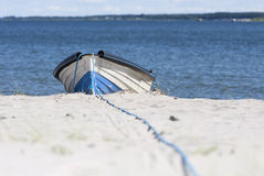 Timber rowboat on sand Royalty Free Stock Photography