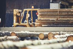 Timber at the sawmill. Lumber industry. Stack of the timber at the sawmill Royalty Free Stock Photo