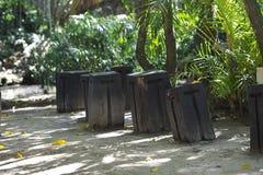 Timber Seats Stock Photo