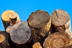 Timber on sky background Stock Photos