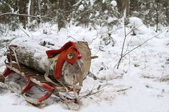 Timber On Sled. A timber laid on a children sled and red gloves on a top of it, snowy forest in the blurred background Royalty Free Stock Photos
